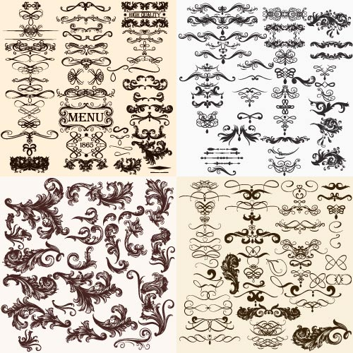 With a mustache over high-quality decorative patterns for a menu from 1865 (Vector)