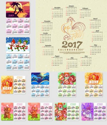 Cartoon calendar 2017 with animals and a symbol of new year (Vector)