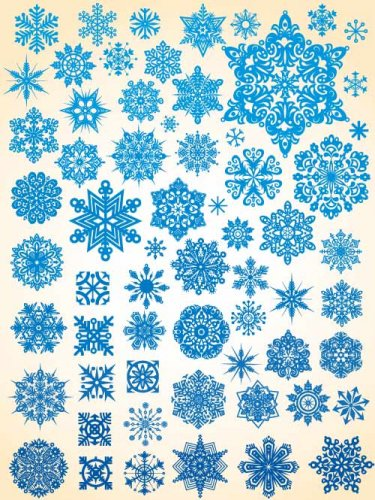 Set of blue snow stars and crystal snowflakes (Vector)